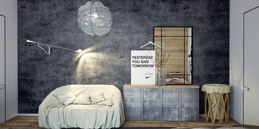 Industriálny dizajn v obývačke